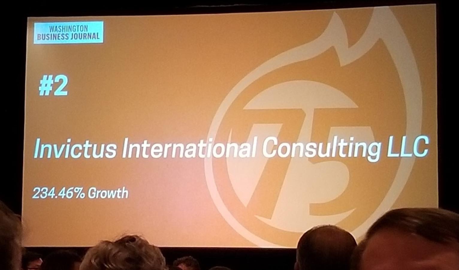 Invictus Ranks No 2 on Washington Business Journal's 75 Fastest Growing Companies